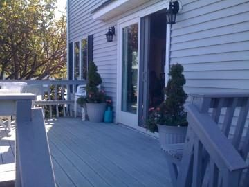 Enjoy dinner on the deck overlooking Lake of the Lilies
