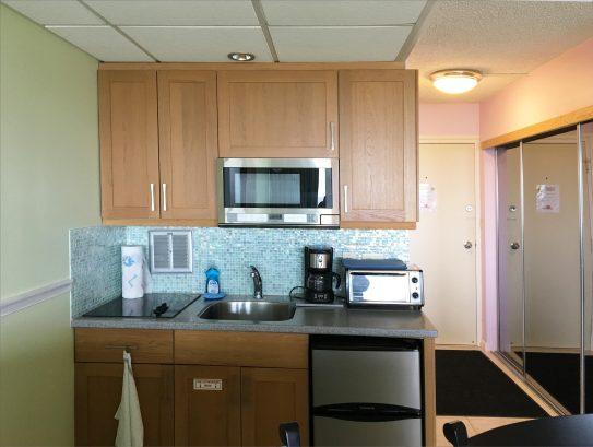 Kitchen-microwave, stove, toaster oven, refrigerator, Italian tile backsplash