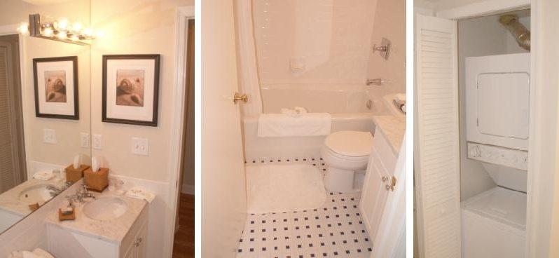 Tile Bathroom. Washer/dryer In Hall