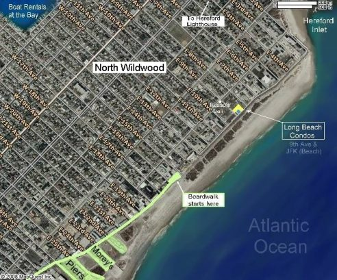 Map of Long Beach Condos, North Wildwood