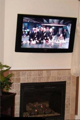 """Gas fireplace and 46"""" Sony HDTV with blu ray"""