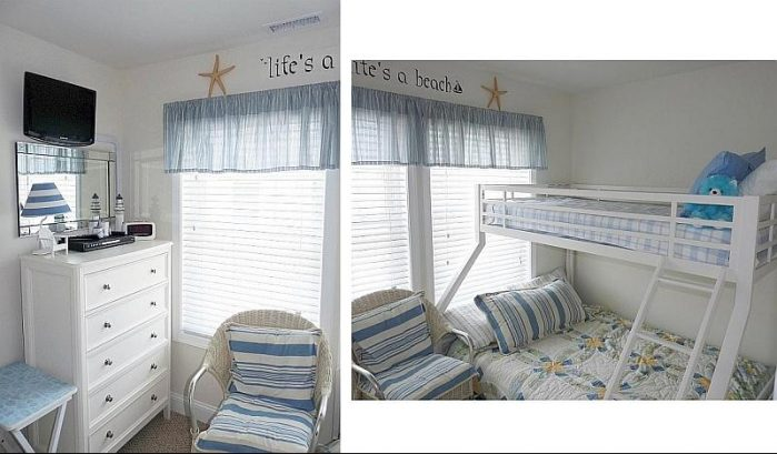 Beachy  middle bedroom with twin over full bed pyramid bunk