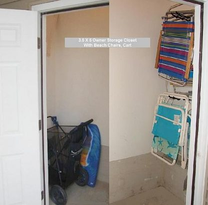 Storage closet with beach cart and varity of chairs