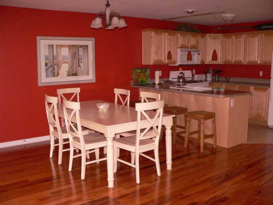 Huge dining table is great for family dinners.