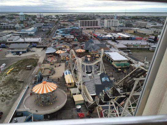 Wildwood boardwalk from atop Ferris wheel