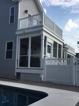 Porch is topped by Master deck with water views