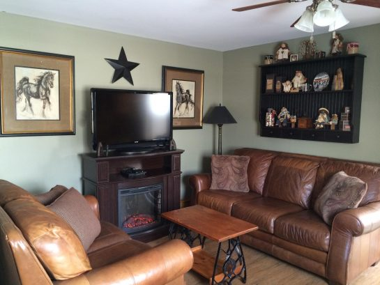 "Family Room with Lane Leather Sofas & 42"" HDTV/DVD & Cable"