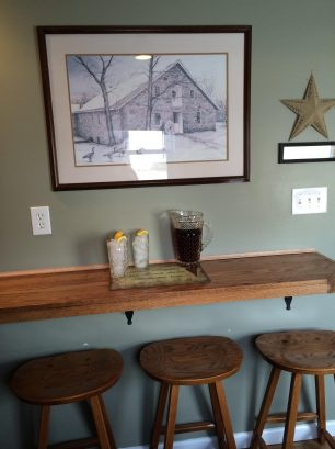 Custom Oak Breakfast Bar with 6 barstools
