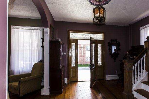 Elegant Foyer showing leaded glass door to front deck