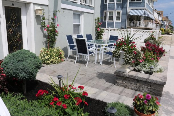 Beautiful patio with EP Henry pavers, door shown is entrance to Condo A