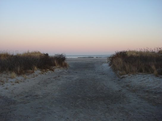 Entrance To Beach at Sunset