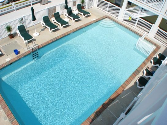 Looking down at Heated Pool