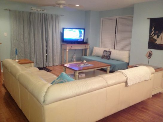 Living Area/Comfortable leather couch/42 in flatTV/Futon
