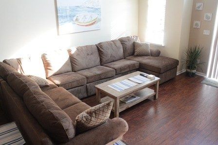 Living room with large comfortable sectional.