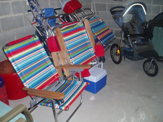 6 beach chairs, pull carts, unbrellas, jogging stroller, no need to cram in car!