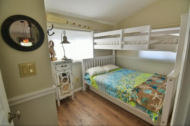 2nd bedroom with one full and one twin bed. Also full closet