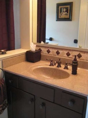 New Cultured Granite Countertop, Backspash, And Brushed Bronze