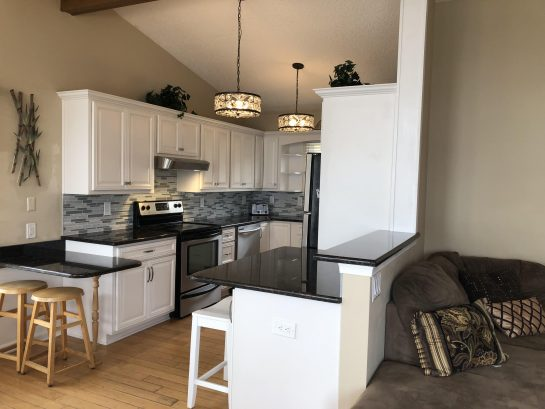 Brand New White Kitchen, granite countertops, Island, backsplash, Stainless steel Appliances