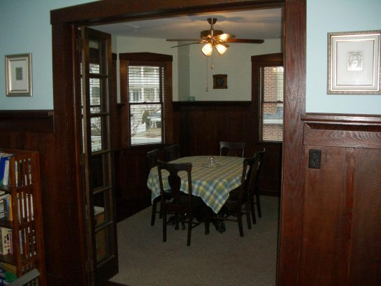 Dining room with antique glass doors