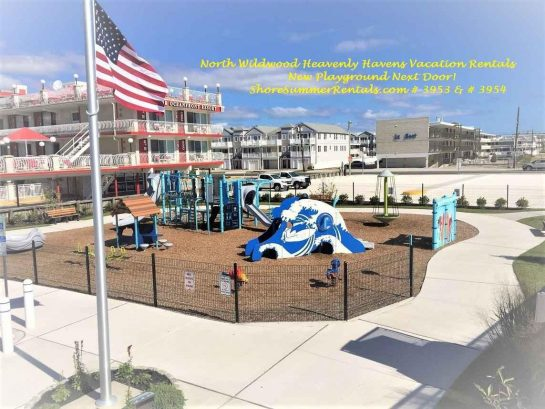 Wonderful new playground next door for all to enjoy and amuse! Right at the 1600 Boardwalk Arch in North  Wildwood, NJ!