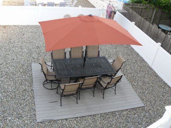 Large Backyard, Cast Aluminum Furniture, Xlarge Umbrella , BBQ Grill, Adirondack Chairs, Clothesline, Outdoor Shower