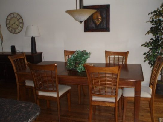 Beautiful Dining Room Off Kitchen & Living Room Leads To A Deck