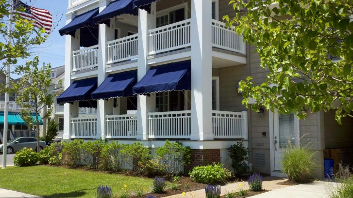 Deep Blue Awning protected Wrap Around Porch