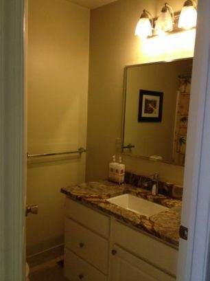 2nd Bathroom With Marble Counter Top And High End Kohler Faucet