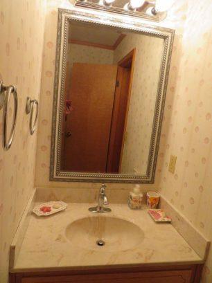 Upper level bathroom off hall has bath-tub with shower