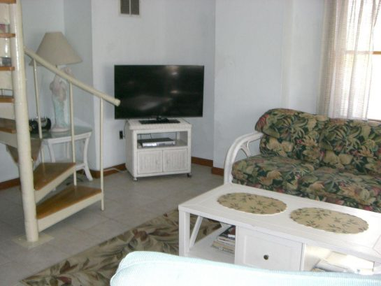 Lower level den has spiral slaircase and TV with built-in DVD player and a couuch, love seat, and chairs