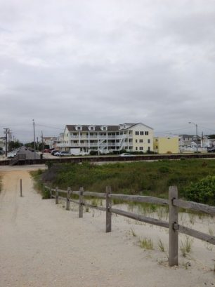 View of condominium from beach.