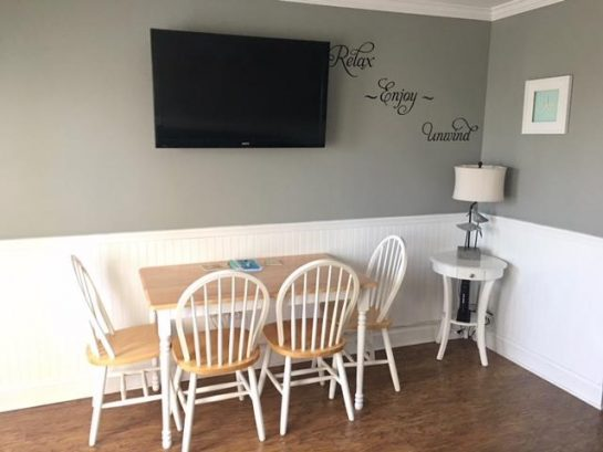 Living room TV with upgraded channels.