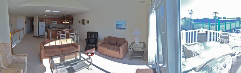 Living Room and Deck Panoramic View
