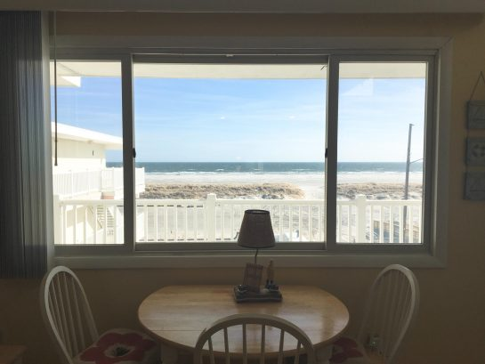 Beach views from living area and front bedroom