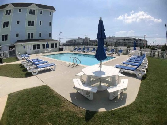 CONSISTENTLY REVIEWED AS #1 CONDOMINIUM OUTDOOR POOL  AND CABANA AREA IN WILDWOOD CREST