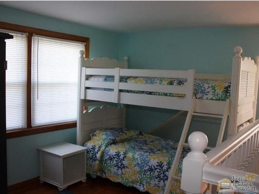Twin Bunk Bedroom Upstairs With TV.  For Children Over the Age of 6 Only.