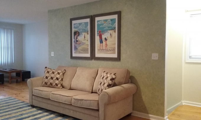 Family room with pull-out sofa