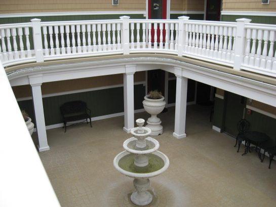 Overlooking the common courtyard