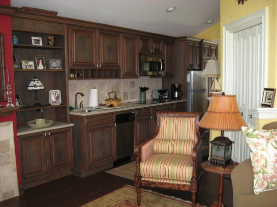 View of kitchen from living area
