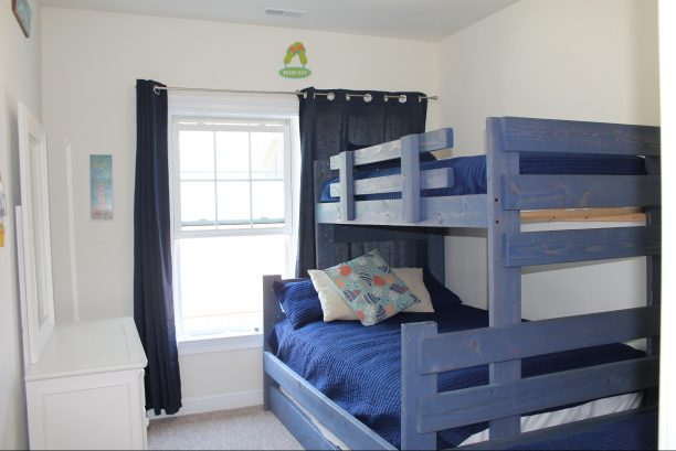 Bunk Room showing Bunk Bed with Twin on top, Full on bottom, and twin Trundle.