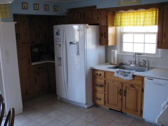 Kitchen storage and new refrigerator with water and ice maker