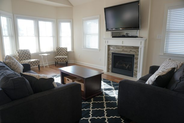 Family room with gas fireplace and plenty of sitting area