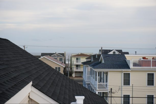 View of ocean from rooftop deck