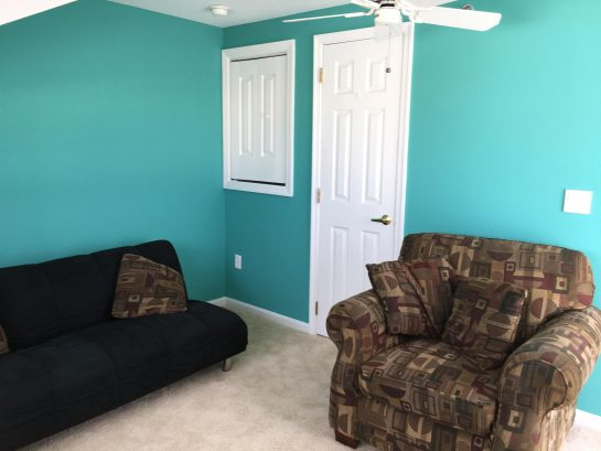 Upstairs Den with Futon, leading to Deck