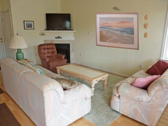 Large, open airy living area with flat screen tv, cable, pull out queen size sofa and love seat