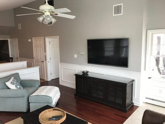 """2nd Floor Living Room NEW leather sofa, love seat, chair and half, 70"""" HDTV"""