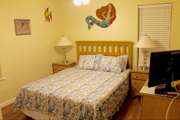 Bedroom #3 - Queen Bed  w/Head Board, 2 Night Tables with Lamps, Dresser with Mirror, Hard Wood Floors, Closet