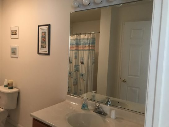 Main Bathroom with shower, bath tub and linen closet , very spacious.