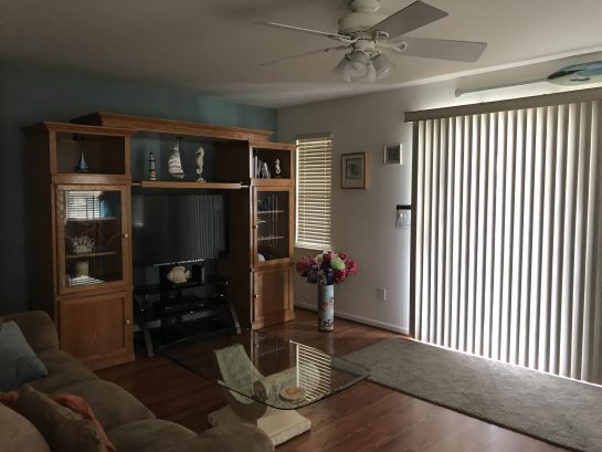 Entertainment Center with large screen TV , DVD player for your leisure