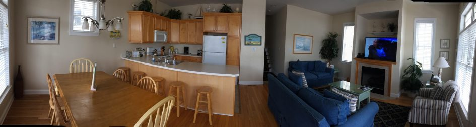 Large Open Living Room, Dining Room & Kitchen area for your family and friends